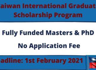 Taiwan International Graduate Scholarship