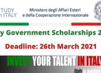 Italy Government Scholarships 2021